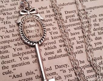 Pride and Prejudice Necklace - Jane Austen, Mr Darcy, Key Necklace, Literary Jewelry