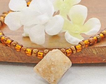 Cream Druzy Pendant Necklace Brown Sugar -  Crystal Necklace - Druzy Jewelry - Boho Chic Jewelry