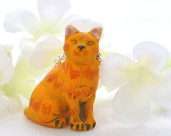 Orange Cat Pendant Kitty Necklace Agent Marmalade - Cat Necklace - Orange Tabby - Cat Jewelry -Cat Lover Jewelry -Cute Cat -Cat Lady Gift