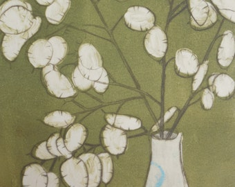 Honesty 14 - drypoint monoprint with chine colle of Honesty Seed Pods, Lunaria annua OOAK