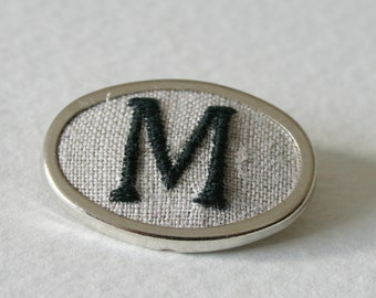 Hand Embroidered Brooch Personalized Initial Letter M
