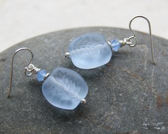 Periwinkle Leaf Glass Earrings - Vintage Glass Earrings - Cornflower Blue Earrings - Botanical Jewelry - Nature-inspired - Garden-Inspired