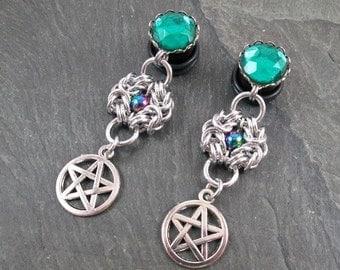 "Pentacle Plugs - 1/2"" 12mm - Dangle Gauges - Pagan Plugs - Chainmaille Jewelry - Pentacle Gauges - Plug Earrings"