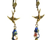 Neo Victorian Cloisonne Earrings with Swallows by Nouveau Motley