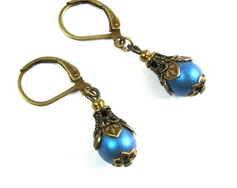 Neo Victorian Drop Earrings with Pale BLUE Satin Czech Glass and Brass Filigree by Nouveau Motley