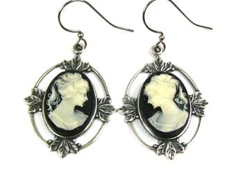 Neo Victorian Earrings with Filigree Framed Black and White Cameos in Silver  by Nouveau Motley