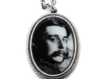 HG WELLS Steampunk Photo Cameo Necklace with Silver Plated Chain by Nouveau Motley