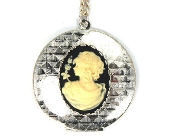 CLEARANCE 50% OFF Neo Victorian Steampunk Cameo Locket in Black Cream Silver by Nouveau Motley