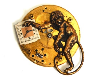 TOYING WITH TIME Steampunk Monkey Brooch Pendant with Antique Victorian Pocket Watch Plate in Brass by Nouveau Motley
