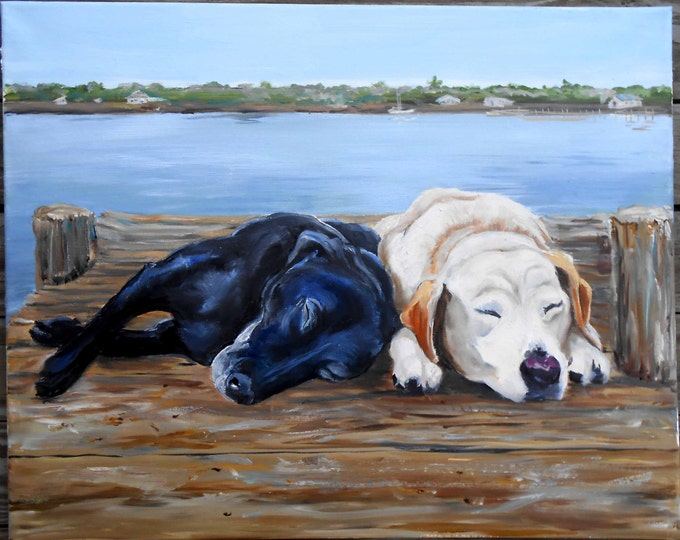 Labrador Retriever Pet Portrait - Oil Painting on Canvas - Custom Dog Portrait - Gift Idea