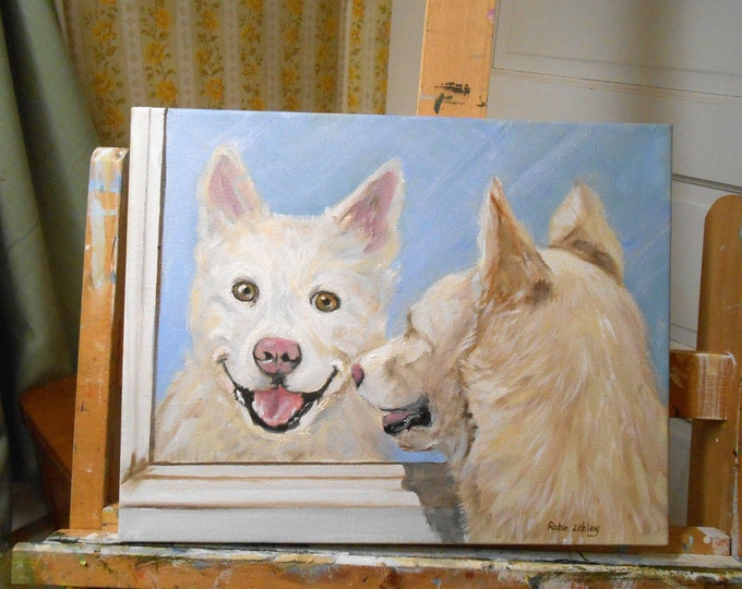 Dog Portrait Oil Painting, by Artist Robin Zebley