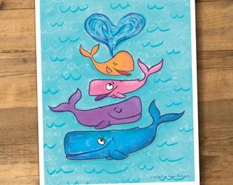 Whale Art Print little girl or boy room nursery print kid's art children art children print Nautical ocean theme humpback whale cute silly