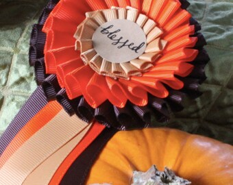 Fall Ribbon Rosettes Decorate Your Thanksgiving Table - Prize Pumpkins!