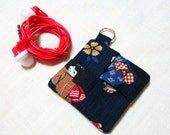 Earbud Pouch - Choose the Fabric - Earbud Case Holder - Purse Keychain - Gadget Cord Organizer