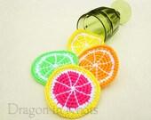 Citrus Slice Coasters - Set of 4 - Orange, Lemon, Lime, Pink Grapefruit - crocheted fruit