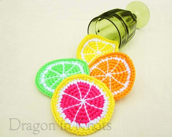 Citrus Slice Drink Coasters - Set of 4, Orange, Lemon, Lime, Pink Grapefruit crocheted fruit - summer party decor our first apartment gift