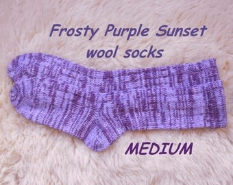 Frosty Purple Sunset socks --- wool socks ---  MEDIUM