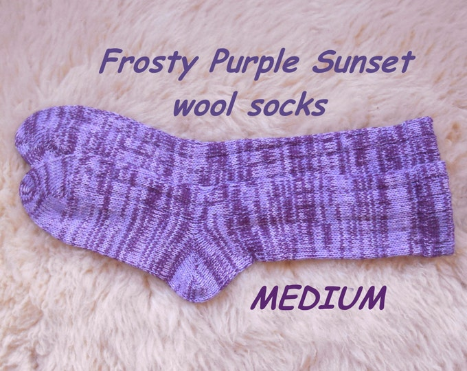 Frosty Purple Sunset socks --- wool socks ---  MEDIUM