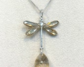 Crystal Golden Shadow Dragonfly Necklace Sterling Silver Box Chain