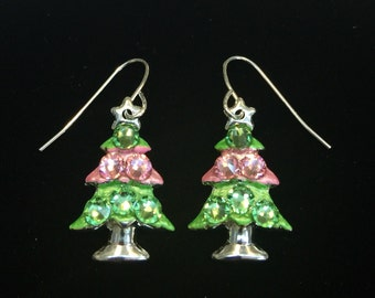 Pink and Green Crystal Christmas Tree Holiday Earrings
