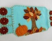 Autumn leaves Art, Fall Embroidery, Fall art, drink Coaster, Autumn Mugrug, Autumn leaves