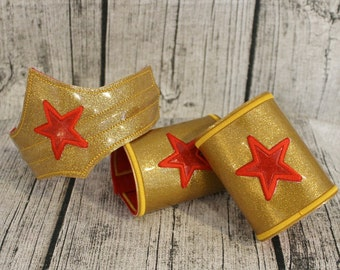 Wonder Woman Inspired Headpiece Tiara Crown Cuffs Belt Wonder Woman Costume for Children and Adults