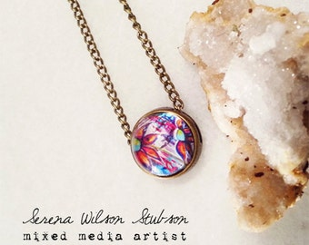 painted blossoms, floral, petite, floating pendant, necklace