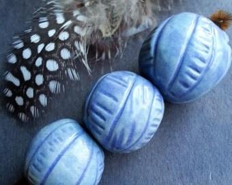 Blue textured rounds Porcelain clay Handmade Ceramic