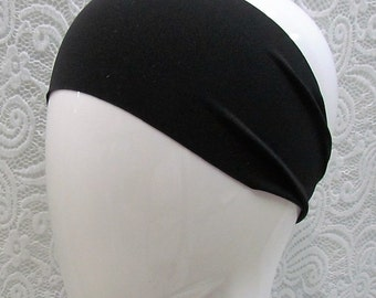 Headband | Yoga Headband | Athletic Headband | Sporty Headband | Spandex | Wide  | Activewear Headband | Black | Comfort Fitting