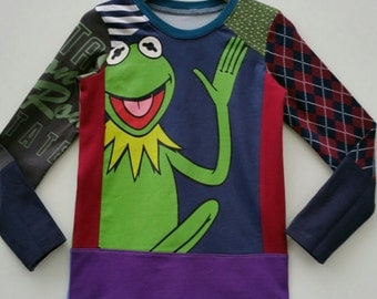 Size 5T(42 3/4 inch) Upcycled Boys long sleeve tee shirt kermit