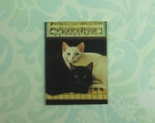 Dollhouse Miniature Cats On Piano Wall Plaque