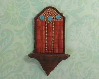 Dollhouse Miniature Mosaic and Deep Terra Cotta Wall Planter