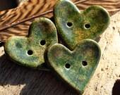 Handmade RAKU Mottled Green Heart Button Set of 3