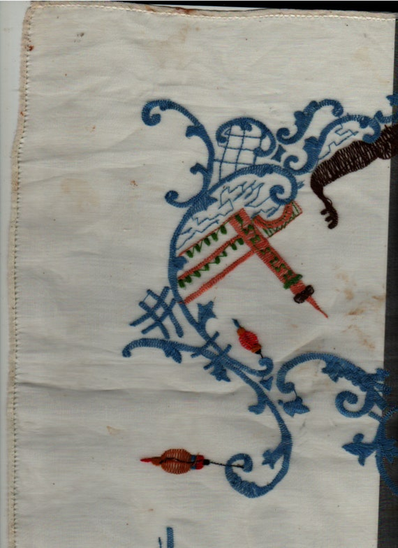 Embroidered Scarf or Table Covering with Asian Theme - lanterns, temples, boats - Vintage
