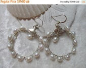 ON SALE Freshwater Pearl Hoops with Silver Findings