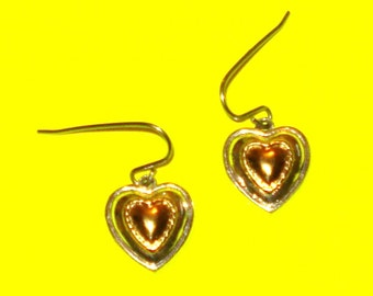 Vintage 1980s Gold and Silver Two Tone Heart Dangle Drop Earrings