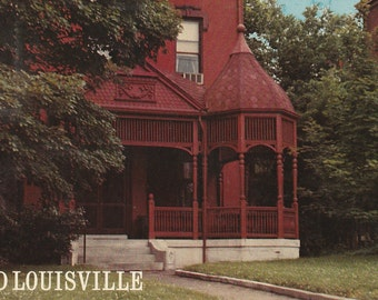 Vintage 1950s Postcard Old Louisville Kentucky Victorian Home House Garden Architecture Photochrome Era Postally Unused