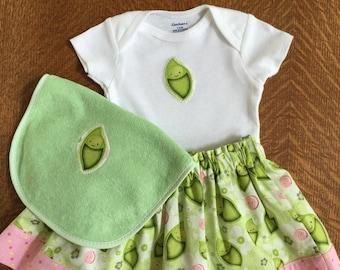 3 Piece Skirt, Gerber Onesie & Bib Set Pea Green n Pink Print Baby Girls Size 3-6M