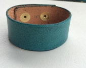 """Leather Cuff Wristband Bracelet Blank 1"""" Wide Turquoise Blue Green by Shaterra"""