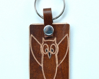 Owl Leather Key Ring