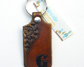 Custom Initial Leather Key Chain with Flower Design