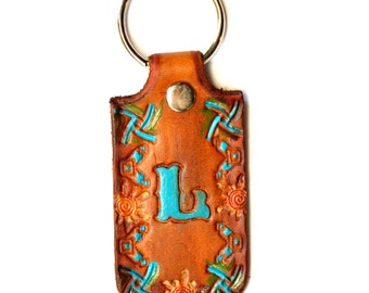 Leather Key Chain, Key Ring Personalized With Initial Tan Southwest Style