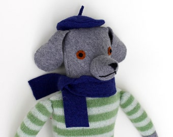 Grey Dog doll Boy in Green Striped Sweater Beret Reclaimed wool knit
