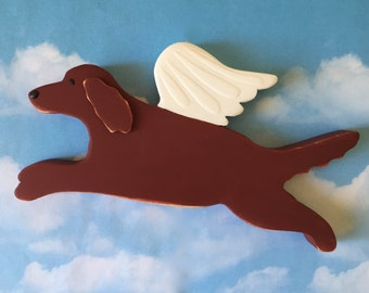 Irish Setter Angel Dog Rustic Wood Decoration