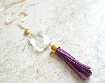 The Maggie- Clear Pendant and Purple Suede Tassel Necklace