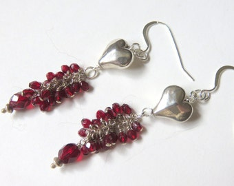 Red Garnet Heart Earrings, Garnet Cluster Earrings,Sterling Silver Valentine Earrings, Love and Romance, Deep Red and Silver Dangle Earrings