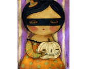 Pumpkin witch #1 - A Halloween mixed media painting print handmade by Danita Art, whimsical girl mounted on wood or frameable paper print