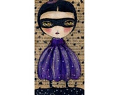 Paper collage purple witch -  Halloween mixed media painting print Danita Art, whimsical art on wood or frameable paper print