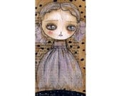 Undead ghost girl doll Halloween mixed media painting print Danita Art, whimsical art on wood or frameable paper print