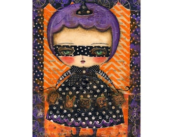 All the wicked things witch - Halloween mixed media painting print Danita Art, whimsical girl mounted on wood or frameable paper print